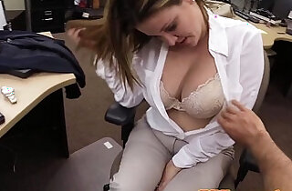 Bigtit amateur doggysyled in pawnshop office