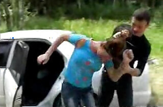 Brunette babe getting Fucked Next to Car