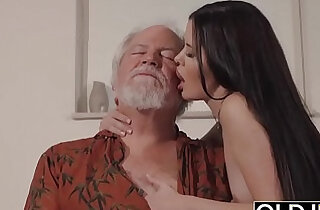 grandpa xxx - Teen Interrupts Grandpa from Yoga And Sucks his Cock wet and hard