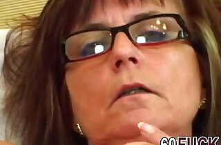Granny bitch with sexy glasses fucked by younger guyer man hi