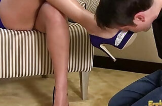 Slave Licks His Mistress Shoes And Feet