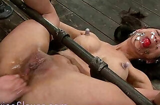 Gagged bound babe tormented