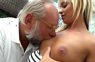 Angelina Julie fingered by old perv before sucking cock