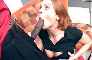 Red haired chick loves to lick and feel