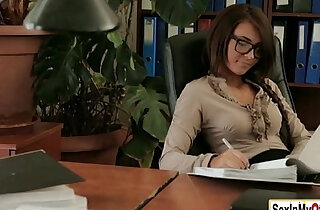 Sexy secretary Alexis Brill works up a a sweat with boss