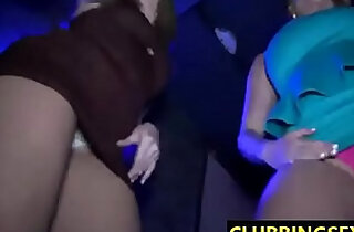 Hot clubbing girls flashing their butts and naked bodies while dancing