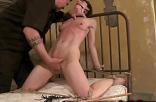Tied up sub with gag getting whipped by her master
