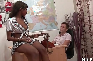 Pretty black hard style banged by her teacher in classroom