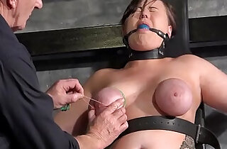 punished hd - Tied slave Taylor Hearts breast bondage and elastic punishment of nipples and fe