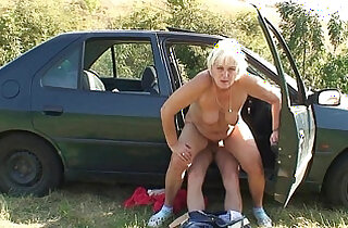 70 years old granny gets pussy banged roadside
