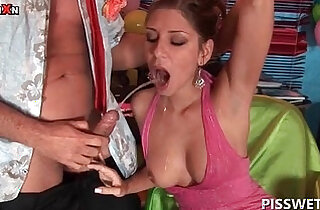 Nasty party hoe blonde whore gets pissed in her sexy mouth